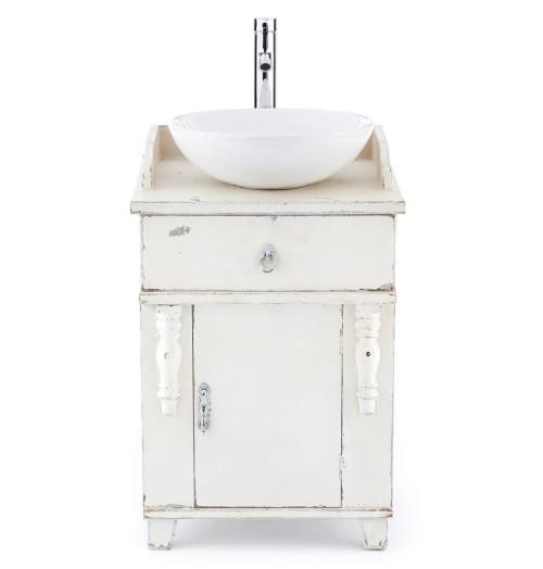 Waschtisch rundes waschbecken vintage tanne mdf keramik - Vintage waschtisch ...