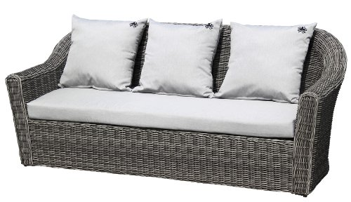 strandgut07 polyrattan 2er sofa bicolor inkl kissen grau ca 206 cm. Black Bedroom Furniture Sets. Home Design Ideas